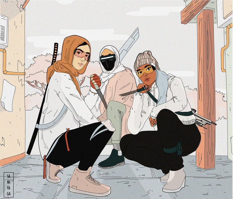 Artwork by Saniya Ahmed depicts a digital artwork of three bold Muslim characters from a cyberpunk future.