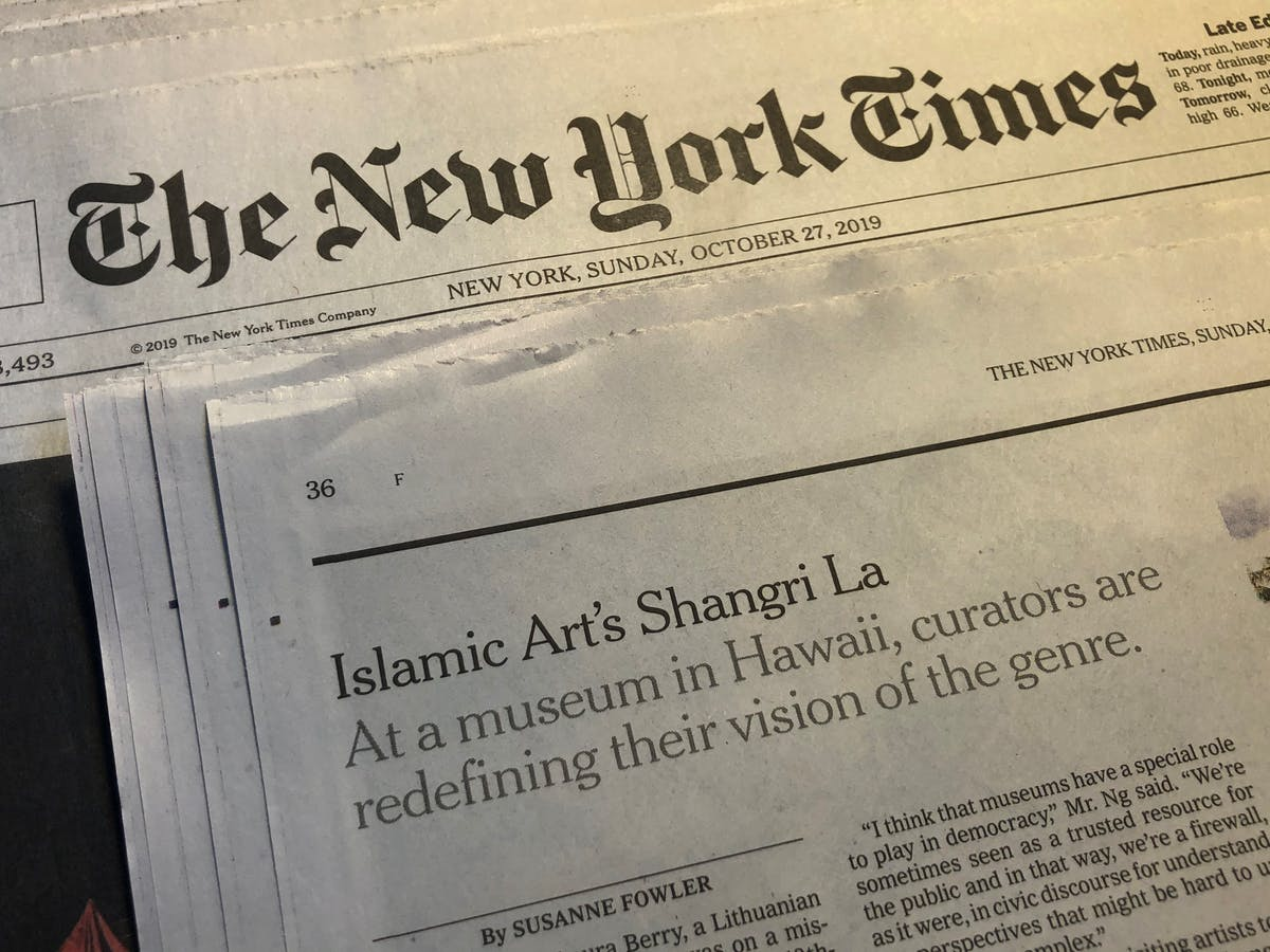 Photo of new york times newspaper.