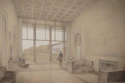 Drawing of the living room, ca. 1936. Wyeth & King, Architects. Shangri La Historical Archives, Doris Duke Foundation for Islamic Art, Honolulu, Hawai'i.