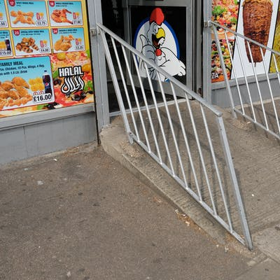 Re-used railings, Chicken Shop – Romford Road, Manor Park