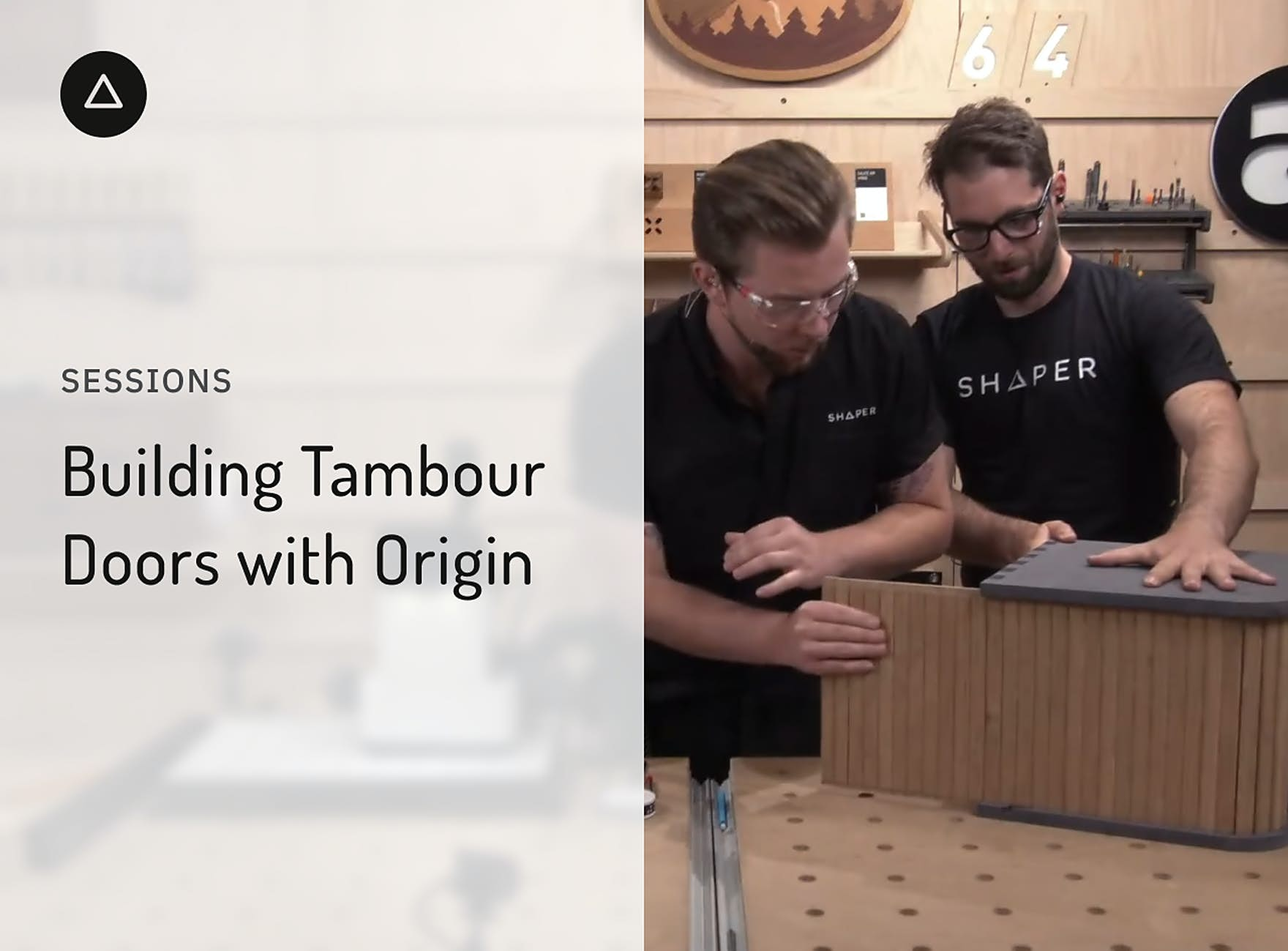 Jake and Russ installing a tambor door on the a bedside table