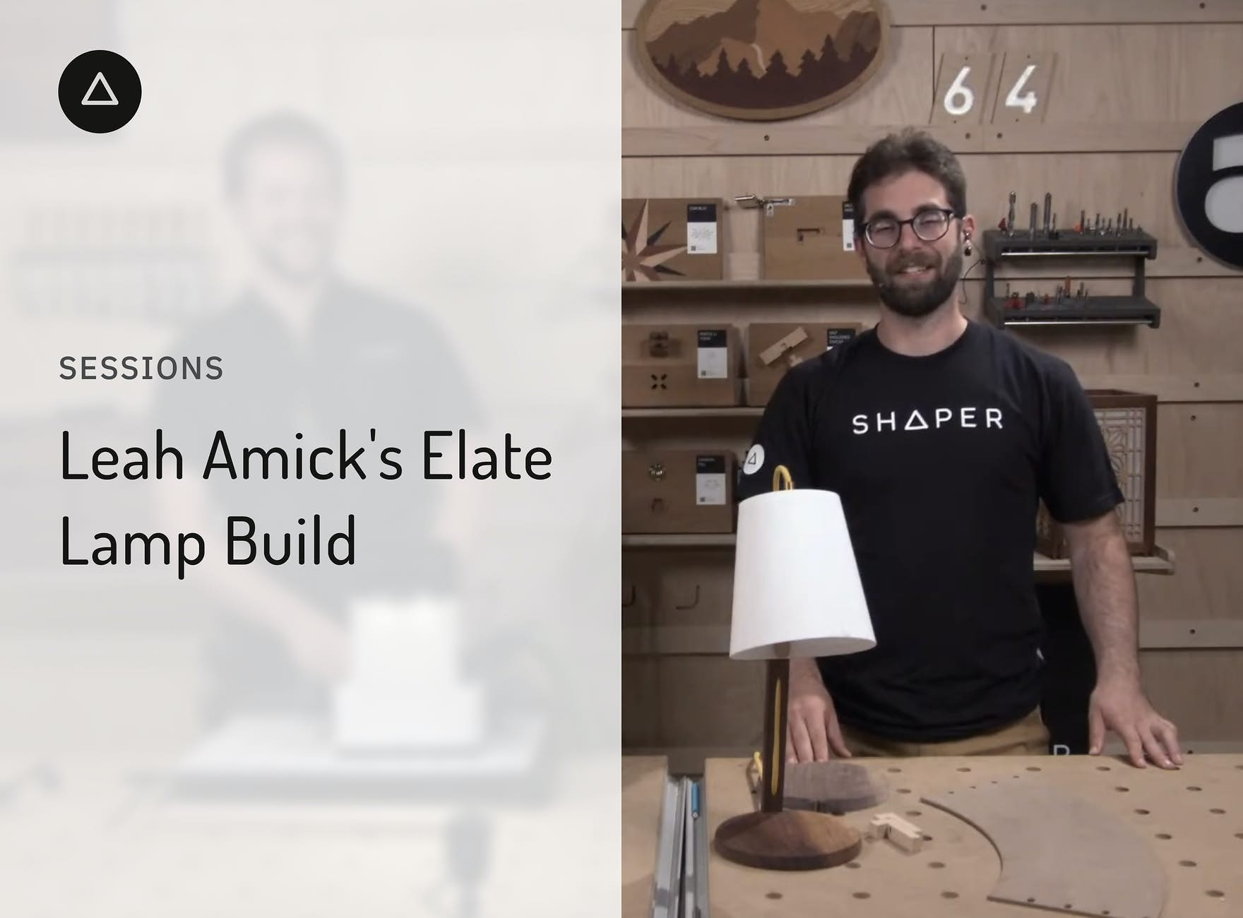 Jake and Russ with the Elate table lamp on a workbench in the Shaper HQ shop