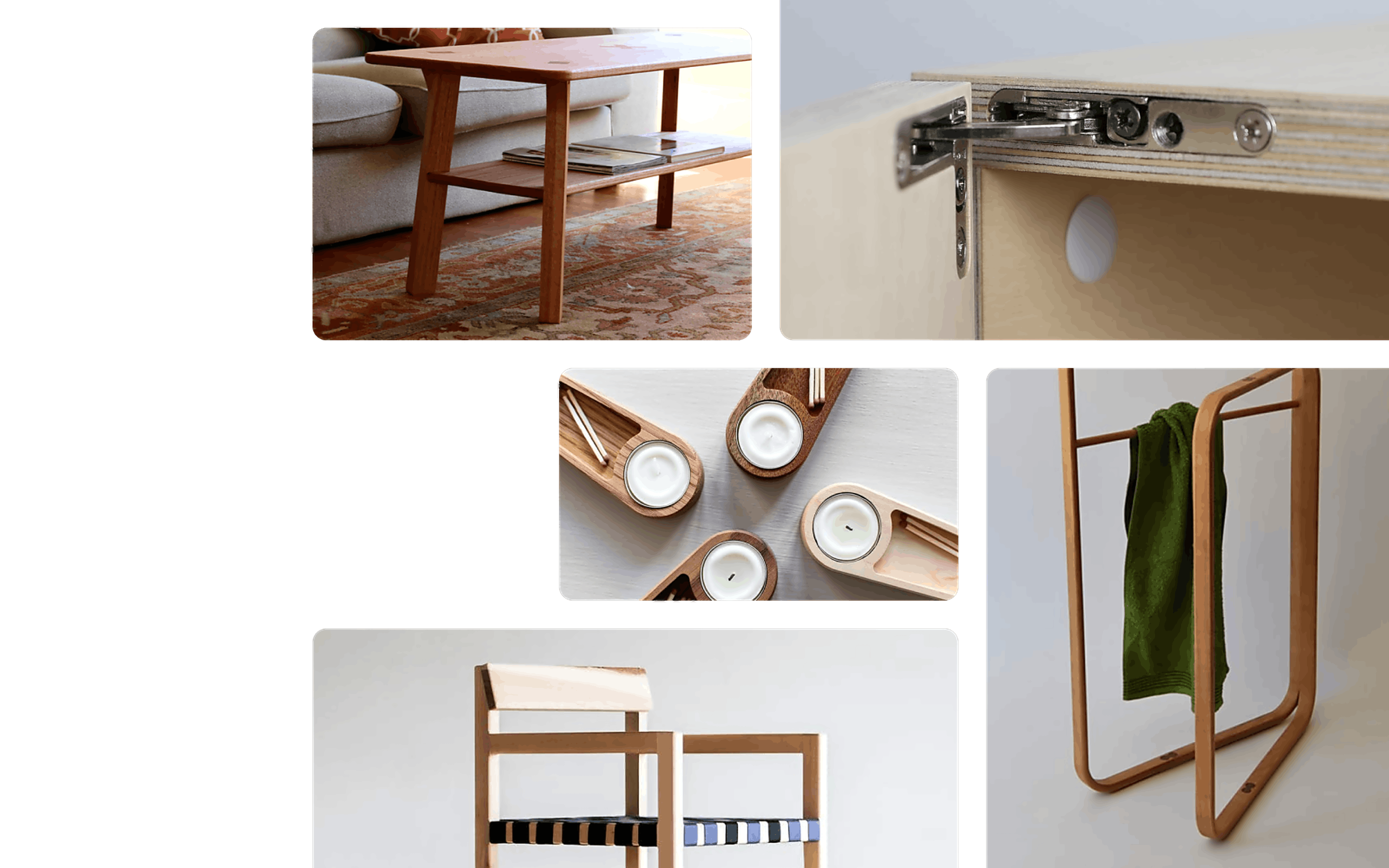 A collage of a coffee table, a cabinet hinge, towel rack, the Stock chair, and candle holders