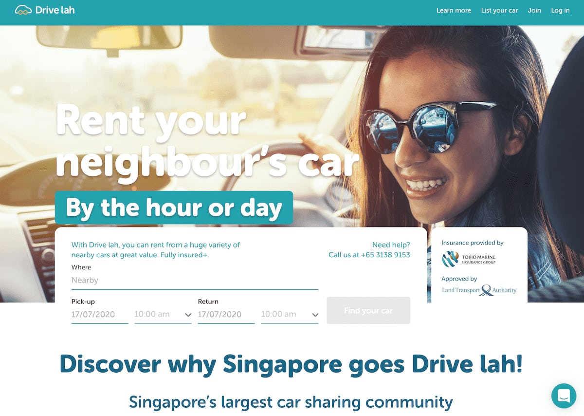 Screenshot of Sharetribe customer Drive Lah's marketplace landing page.
