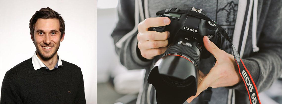 Canon Australia's product manager Anthony Cortis and hands holding Canon camera with lense hood.