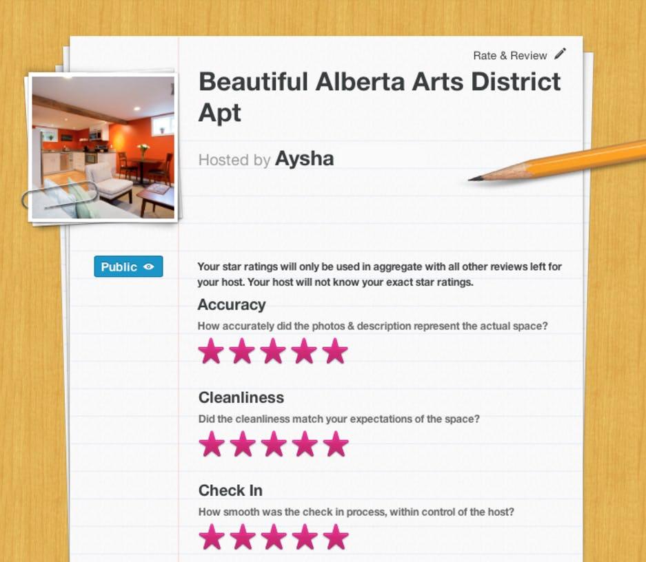 Airbnb review process screenshot