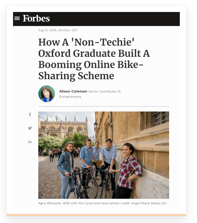 Screenshot of a Forbes article about Sharetribe customer Cycle.Land.