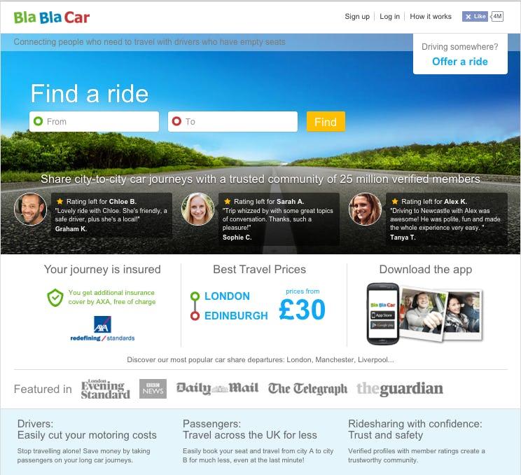 BlaBlaCar homepage screenshot