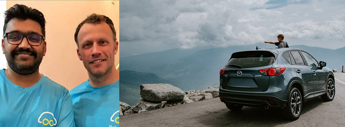 Two images: Drive lah founders; a green SUV parked on a cliff and a child emerging through the sunroof pointing to the horizon.