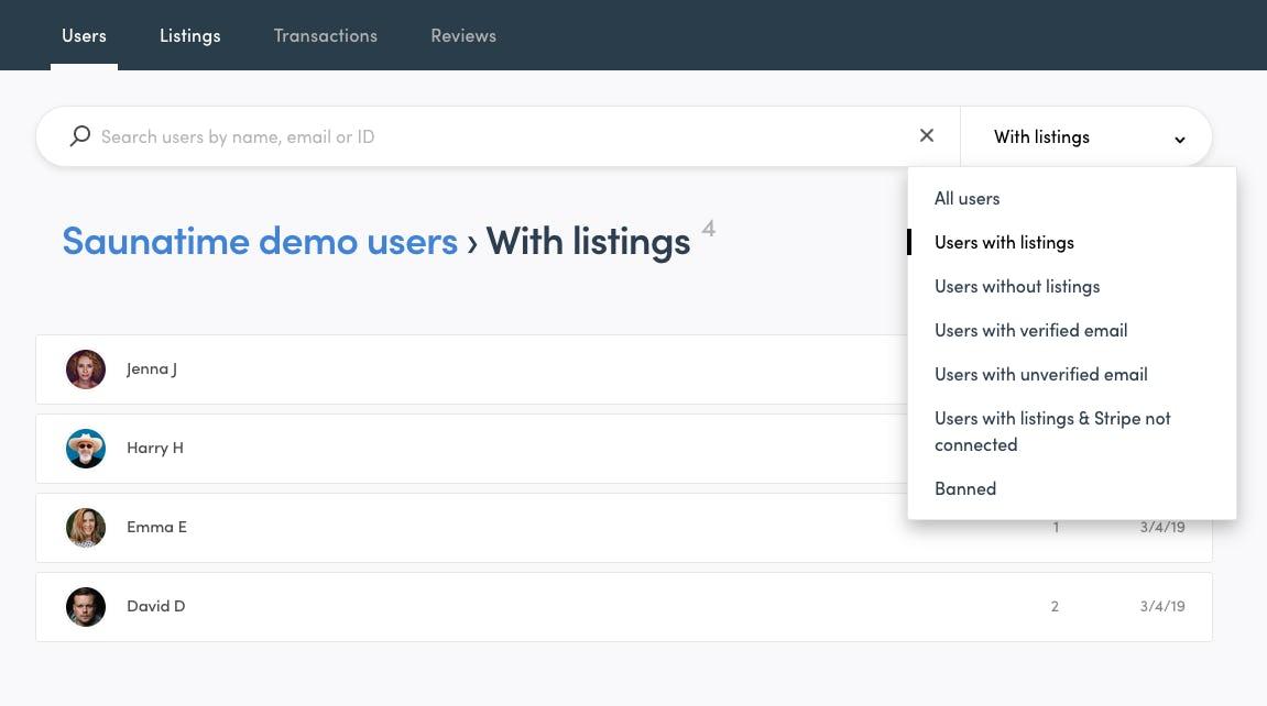 User management on Sharetribe Flex's demo marketplace app called Saunatime.