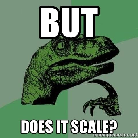 """The green-hued """"Philosoraptor"""" meme with the head and claw of a velociraptor with text """"but does it scale?"""""""