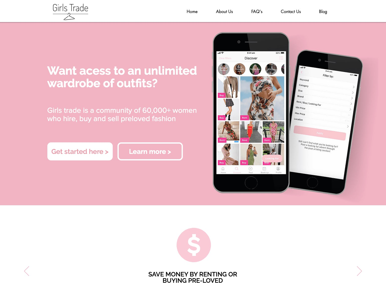 Screenshot of Sharetribe customer GirlsTrade's marketplace landing page