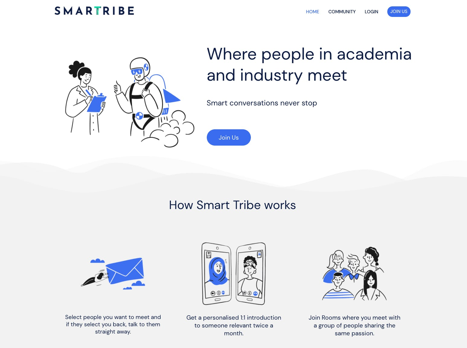 Screenshot of the service marketplace SmartTribe's landing page featuring cartoons in blue and black.