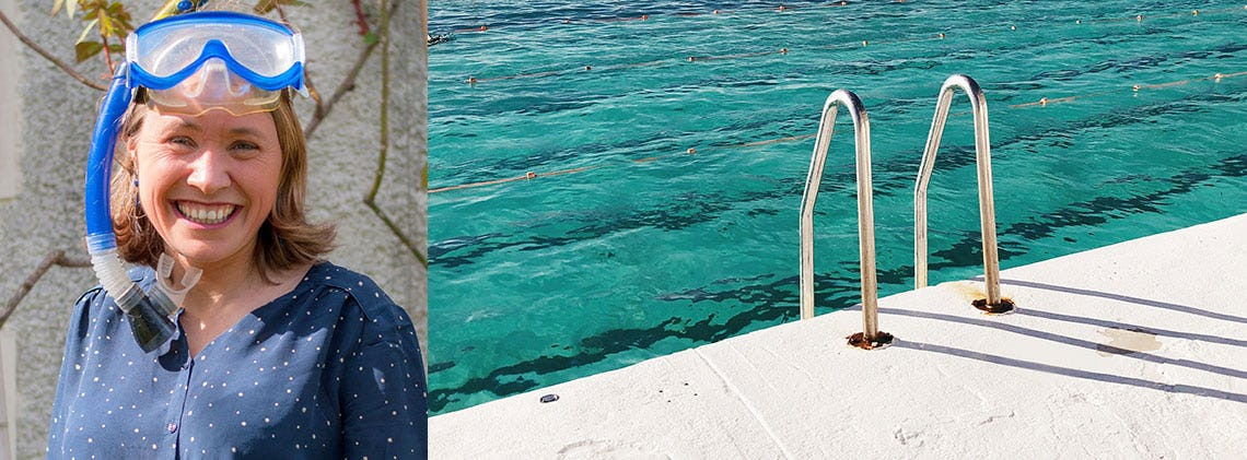 Swimmy founder Raphaëlle with a snorkling mask and close-up of a swimming pool with stairs.