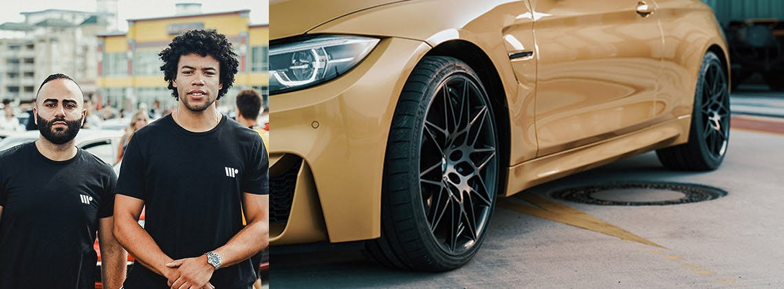 WheelPrice founders Kyle and Wally and diagonal close-up of gold-coloured BMW.