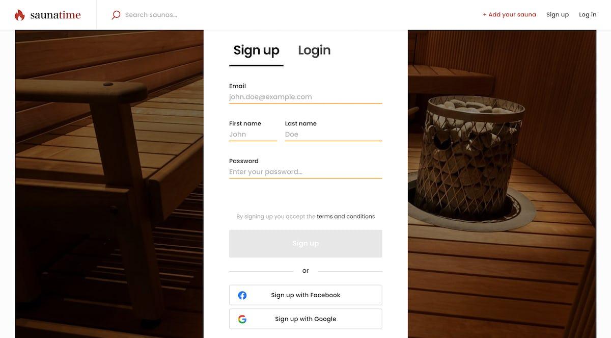 Screenshot of Sharetribe's demo marketplace app illustrating the sign-up form.