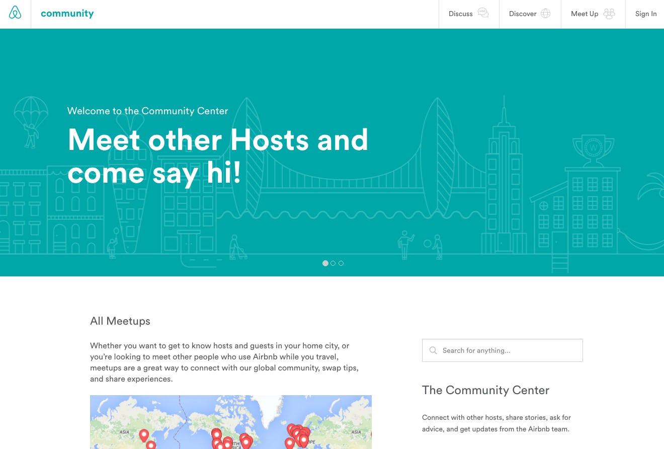 Airbnb hosts community screenshot