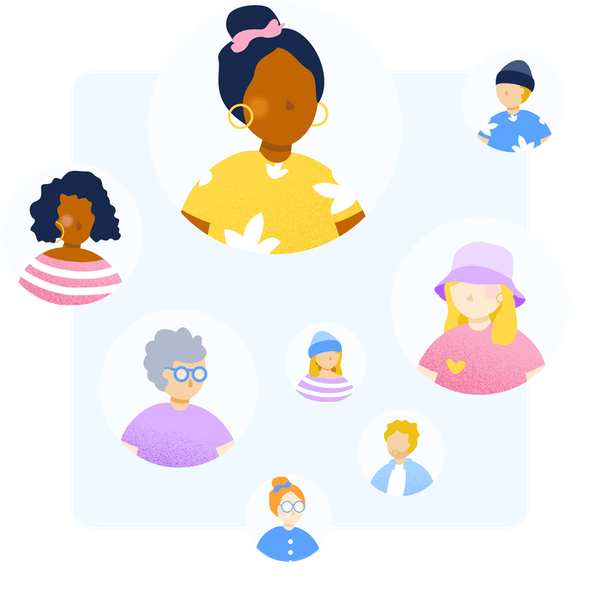 illustrations of several people
