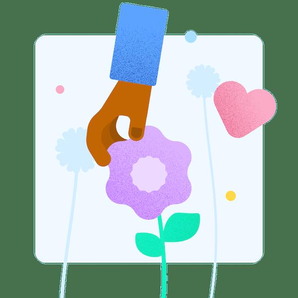 illustration d'une main qui cueille une fleur