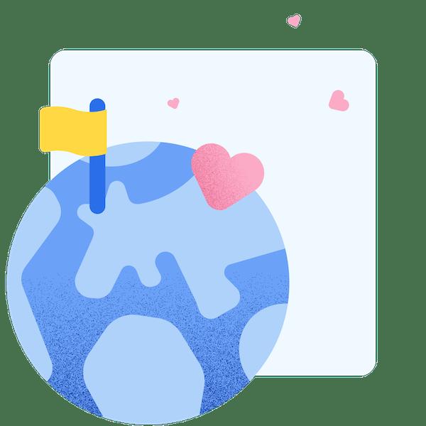 illustration d'une planète ornée d'un drapeau jaune et de cœurs