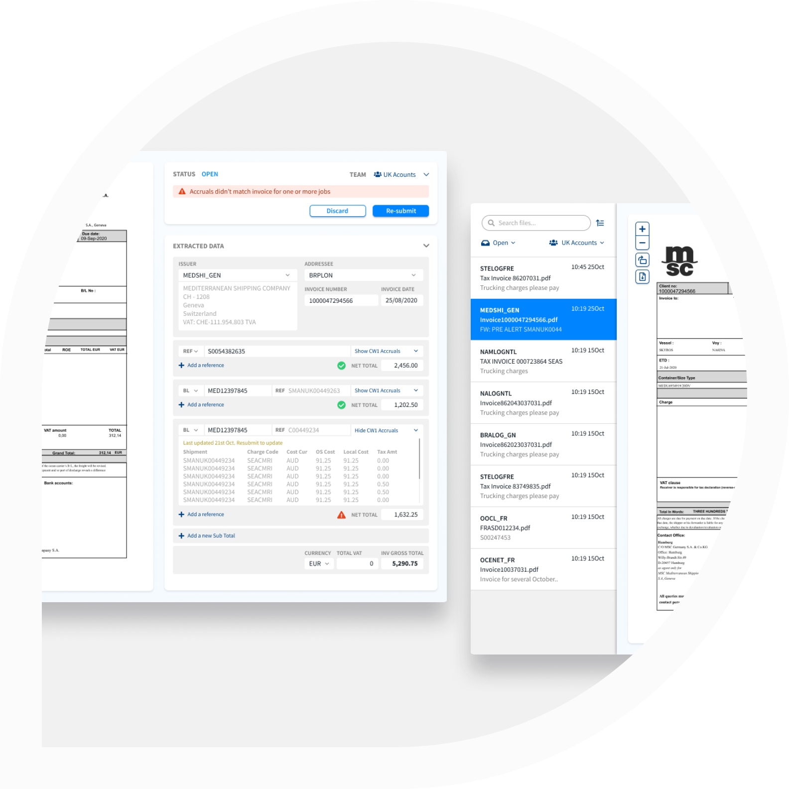 Shipamax Exception Management dashboard for AP Invoices