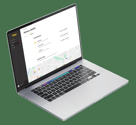 écran du dashboard shippr sur macbook air