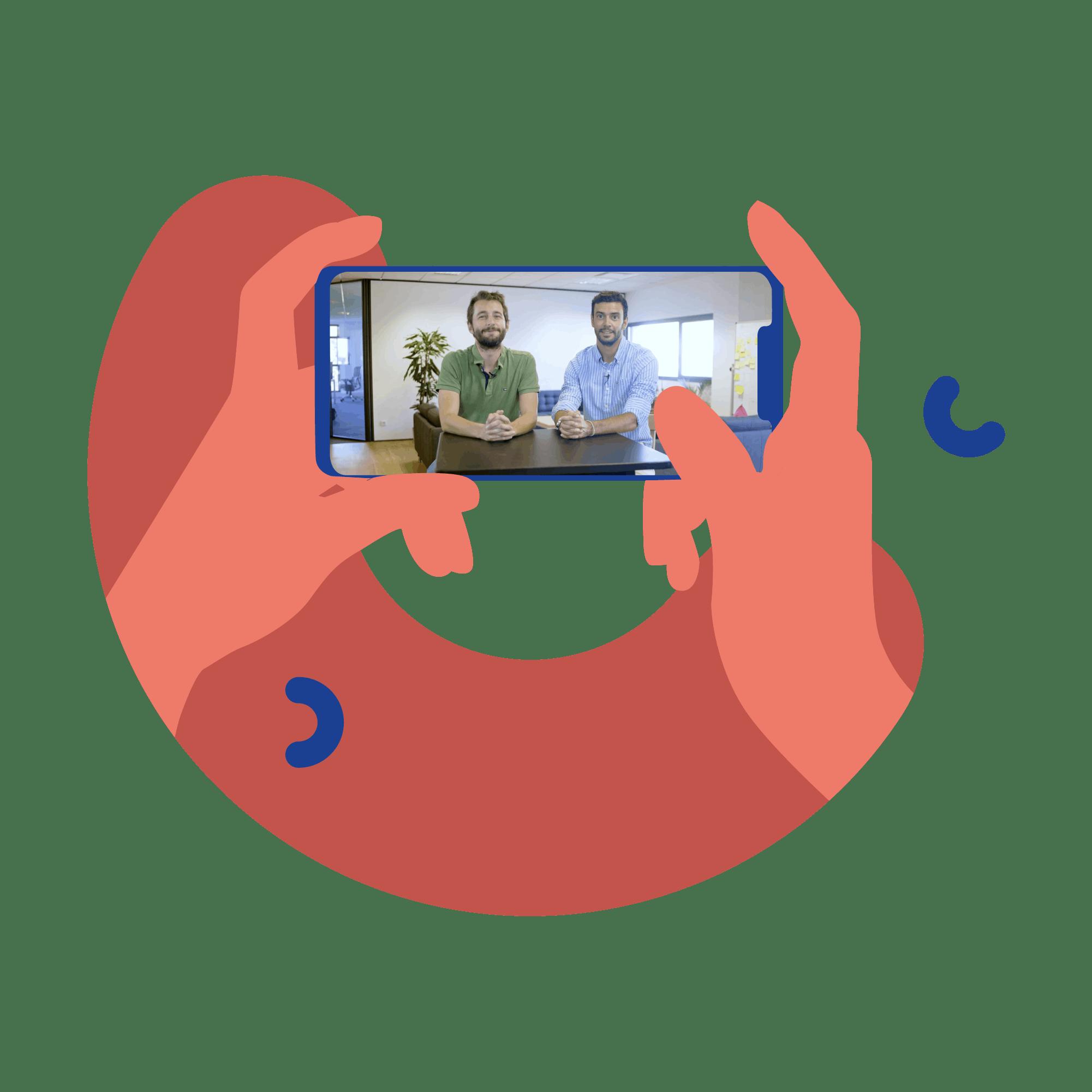 Ilustração de telemóvel com imagem dos fundadores da Shopopop