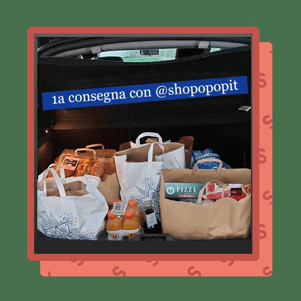 Post di Instagram con spesa nel bagagliaio