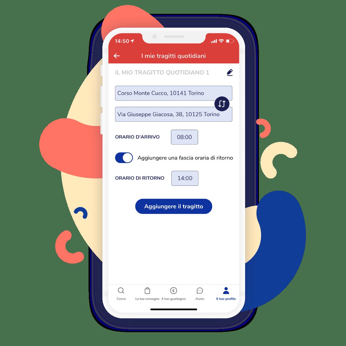 Funzione tragitti frequenti nella app di Shopopop