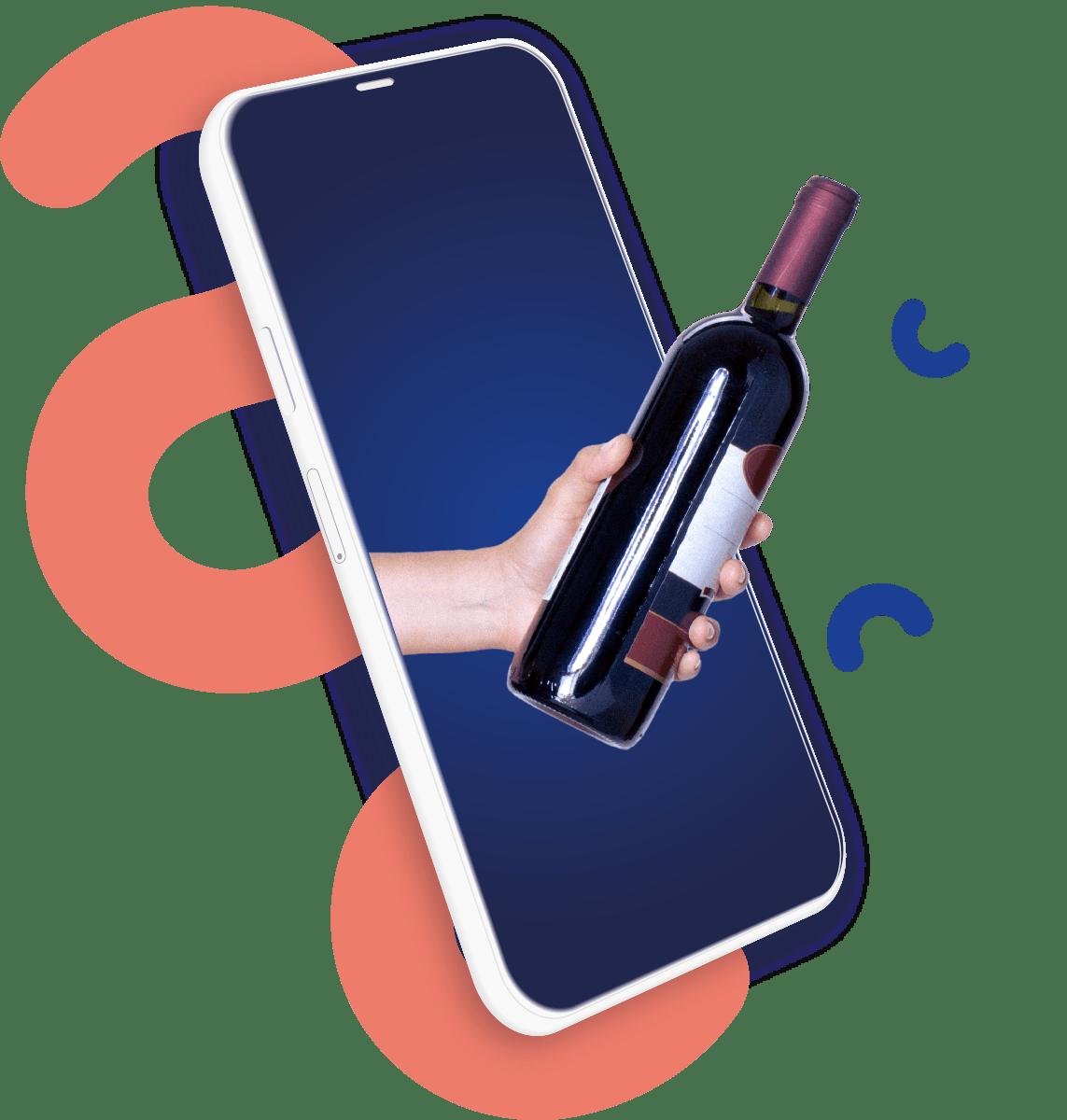 Ilustração com telemóvel e garrafa de vinho
