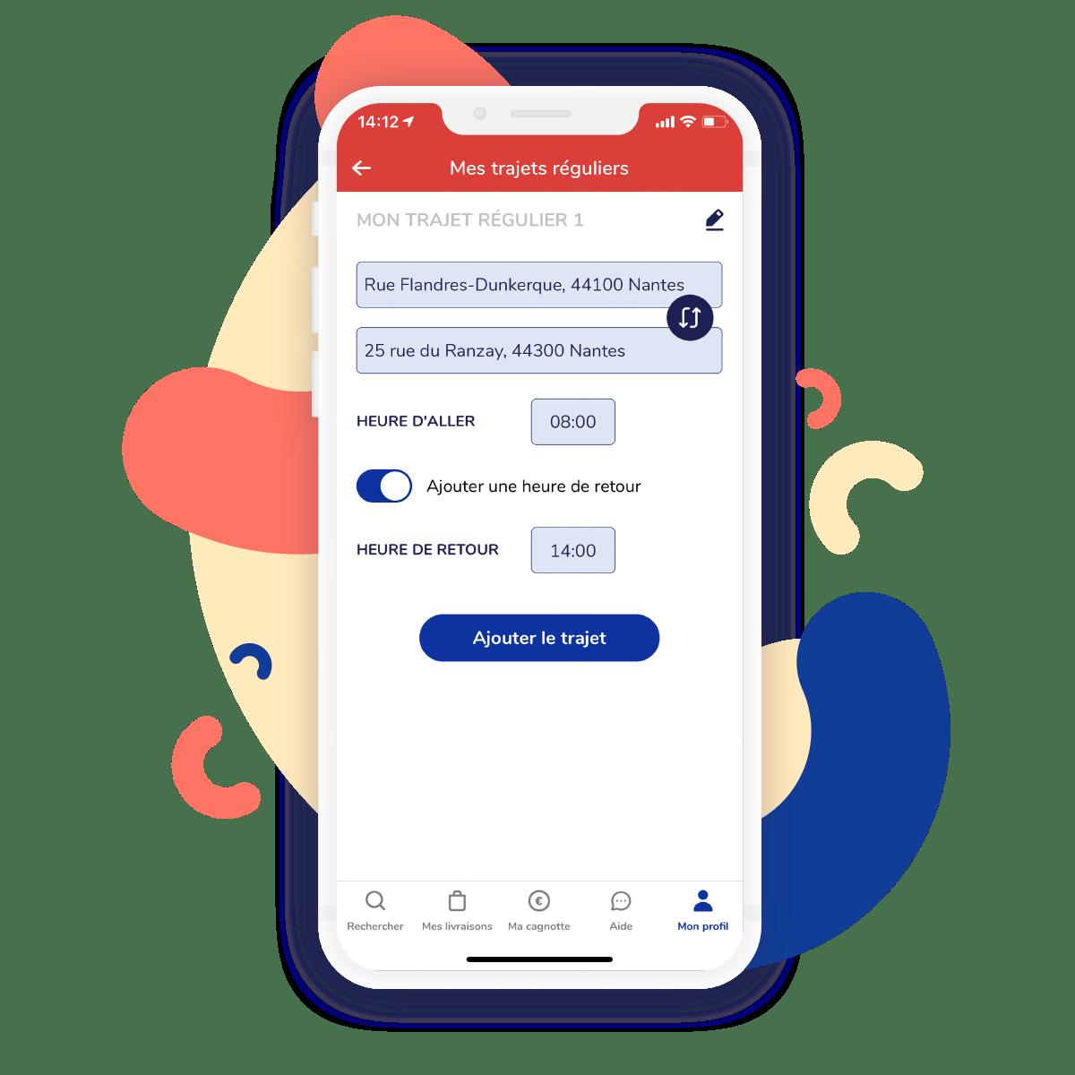 Fonctionnalité Trajets Réguliers dans l'application Shopopop