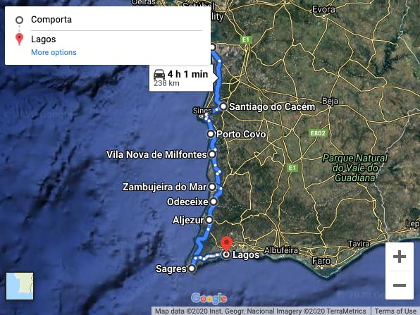 Best scenic drive route from Comporta to Lagos.