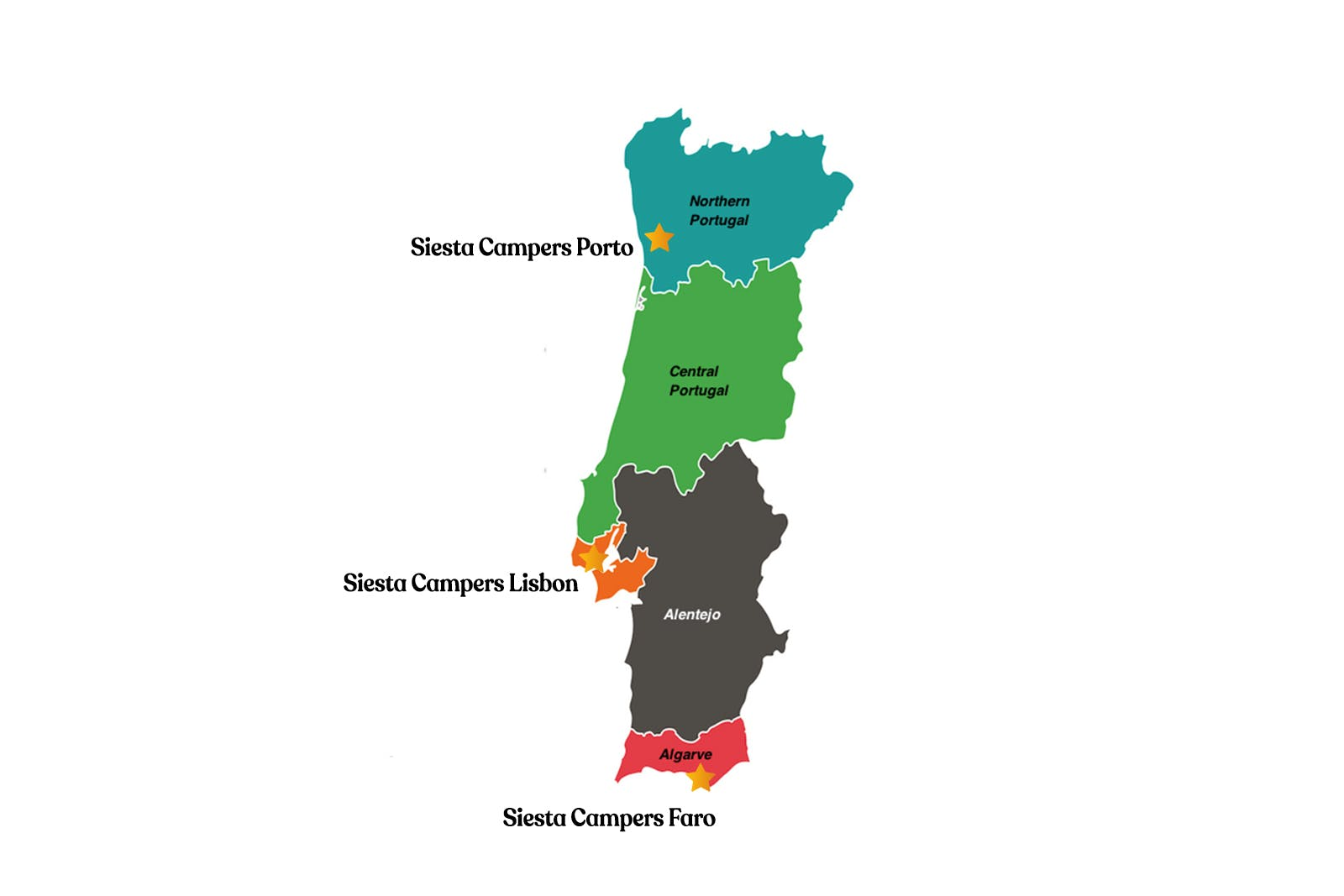 Map of Portugal regions and motorhome renal location in the Algarve, Alentejo, Lisbon and Porto.