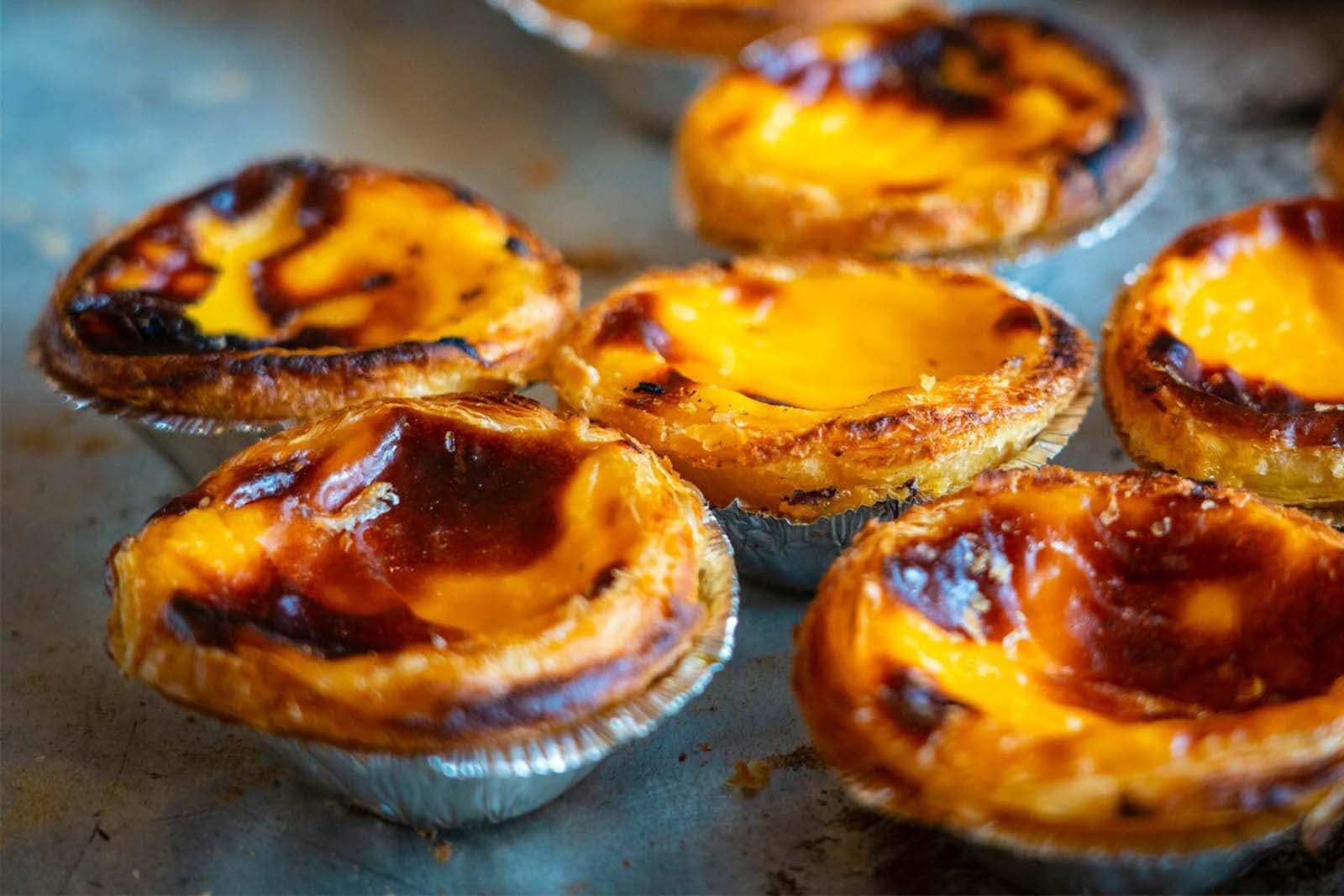Famous Portuguese pastries Pastel da Nata.