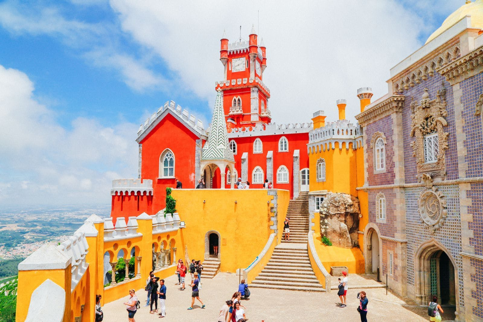 Colourful Sintra Castle during the annual Sintra Festival.
