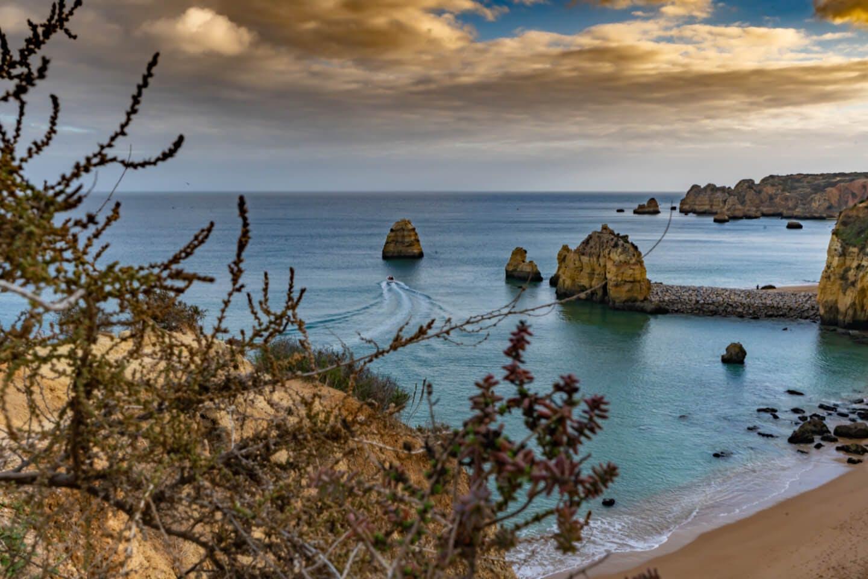 Algarve coast with beautiful beach views.
