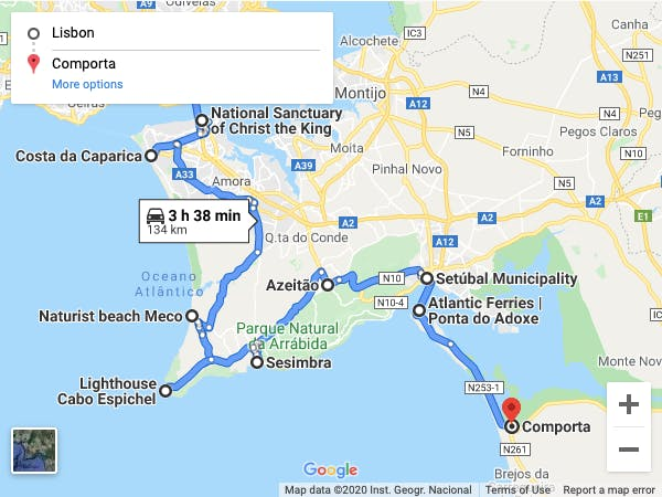 Scenic campervan drive route map from Lisbon to Comporta