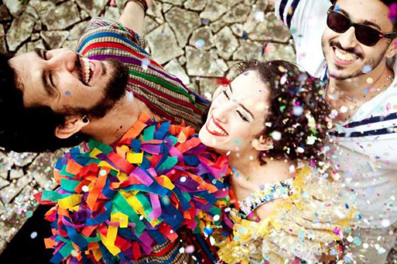 Friends celebrating Carnaval, Portugal's best and biggest festival.