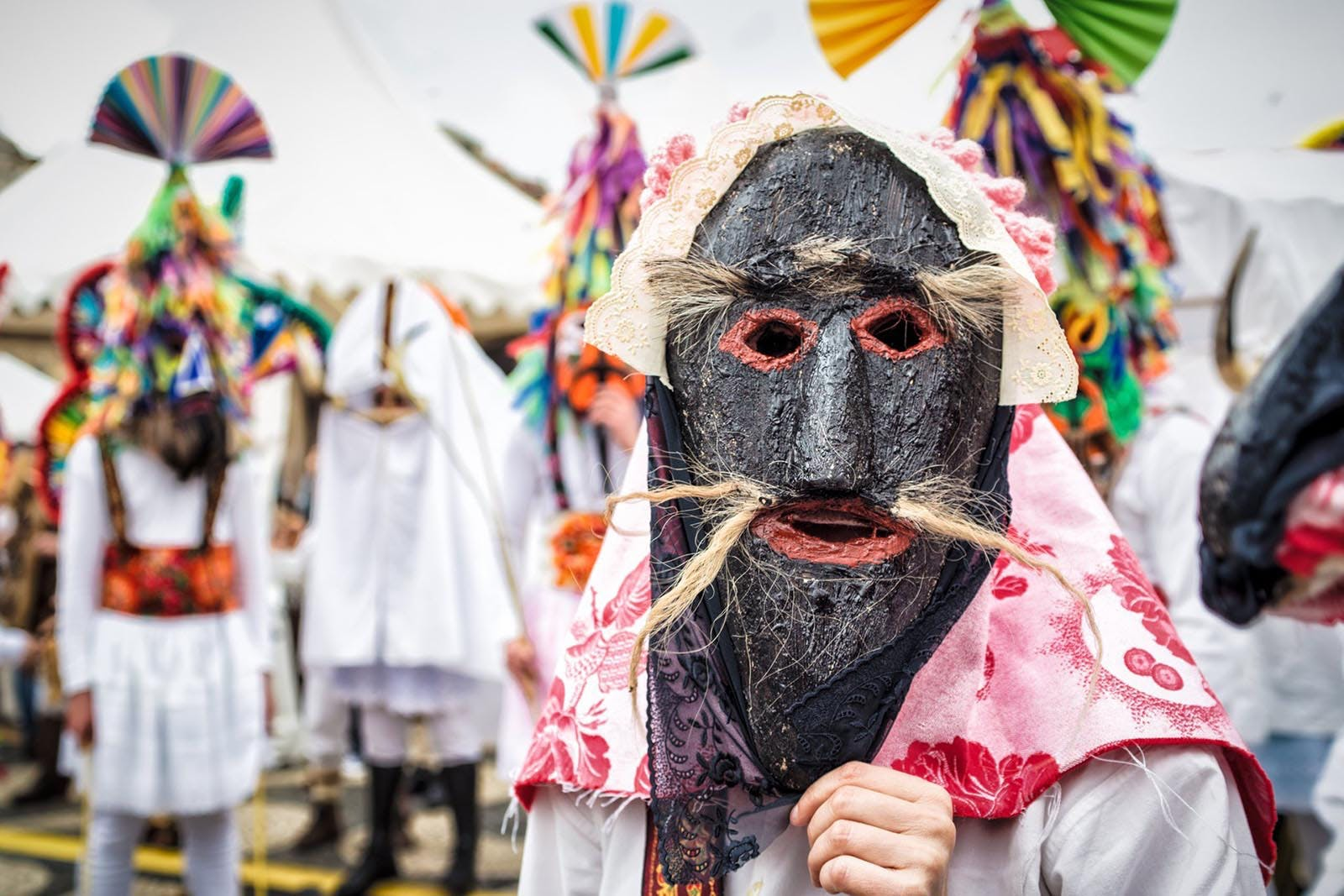 Masked entertainer at one of the top Portuguese events, the Festival of the Iberian Mask in Lisbon.
