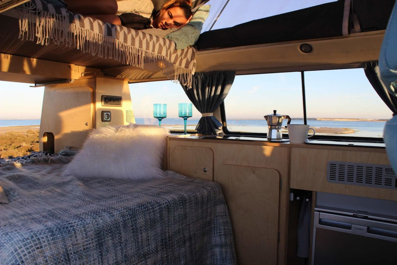 Campervan interior at a van friendly beach.