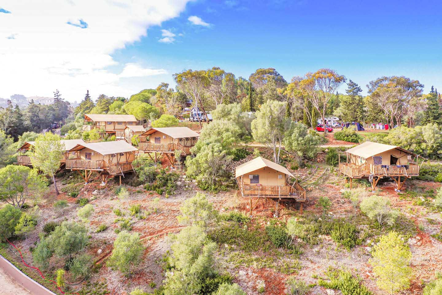 Aerial view of Salema Eco Camp, the best campground in the Algarve.