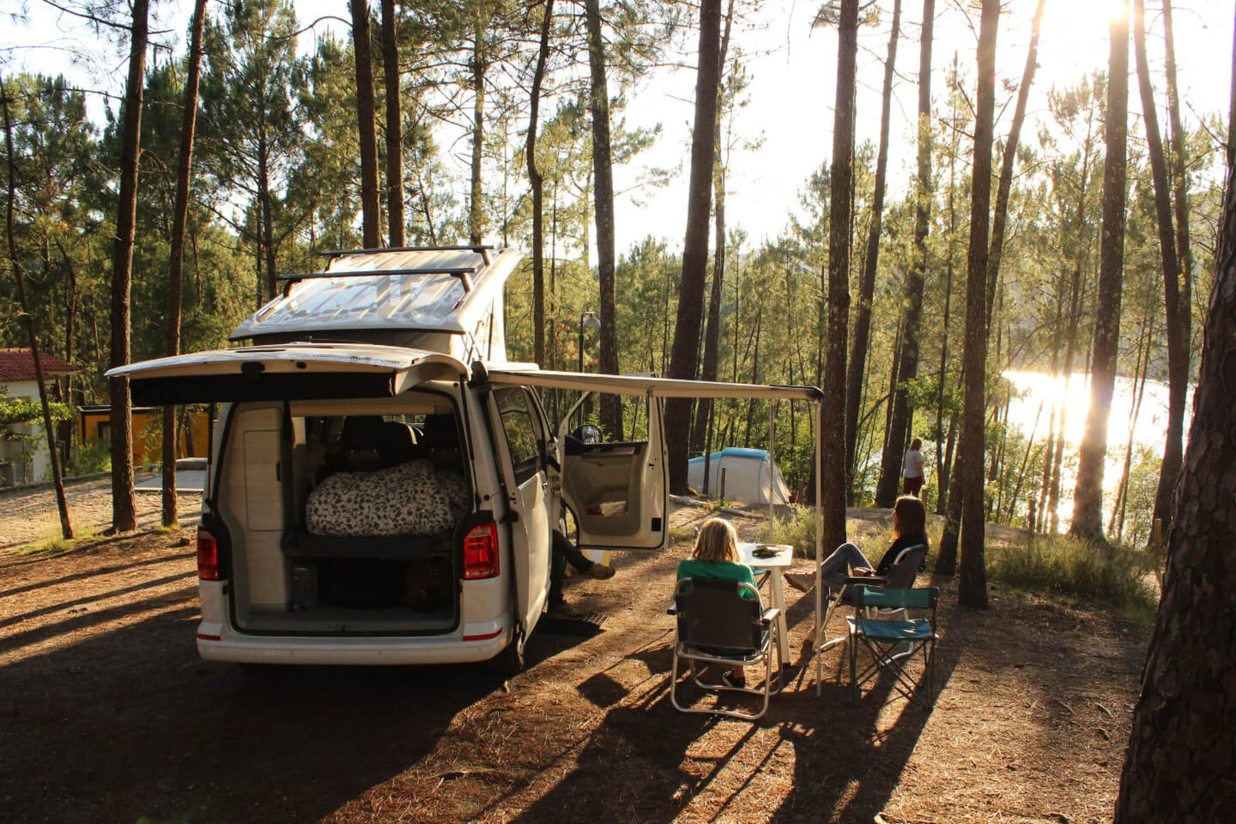 North Portugal camping in a dense forest in a natural park.