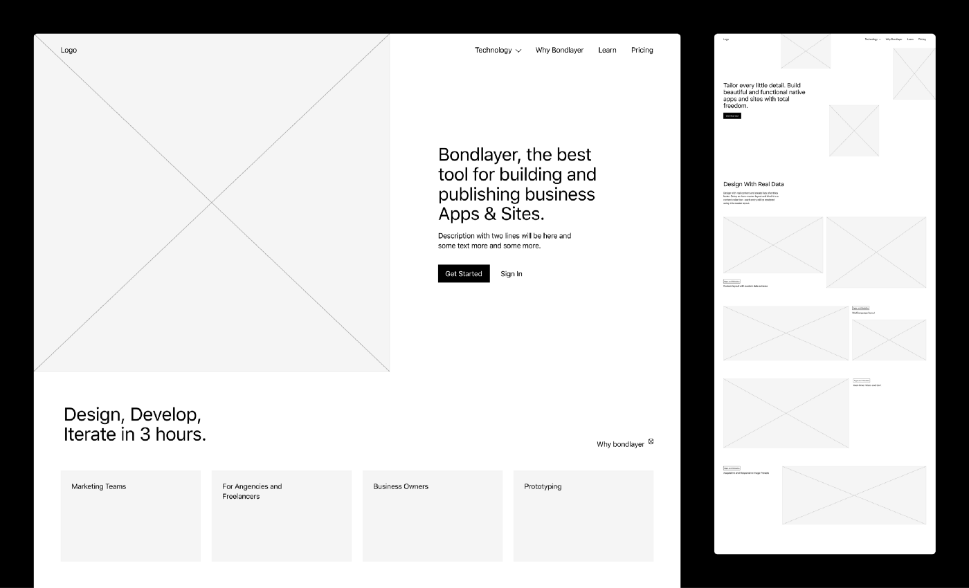 Wireframes for Bondlayer, a product that allows users to build and launch websites without coding.