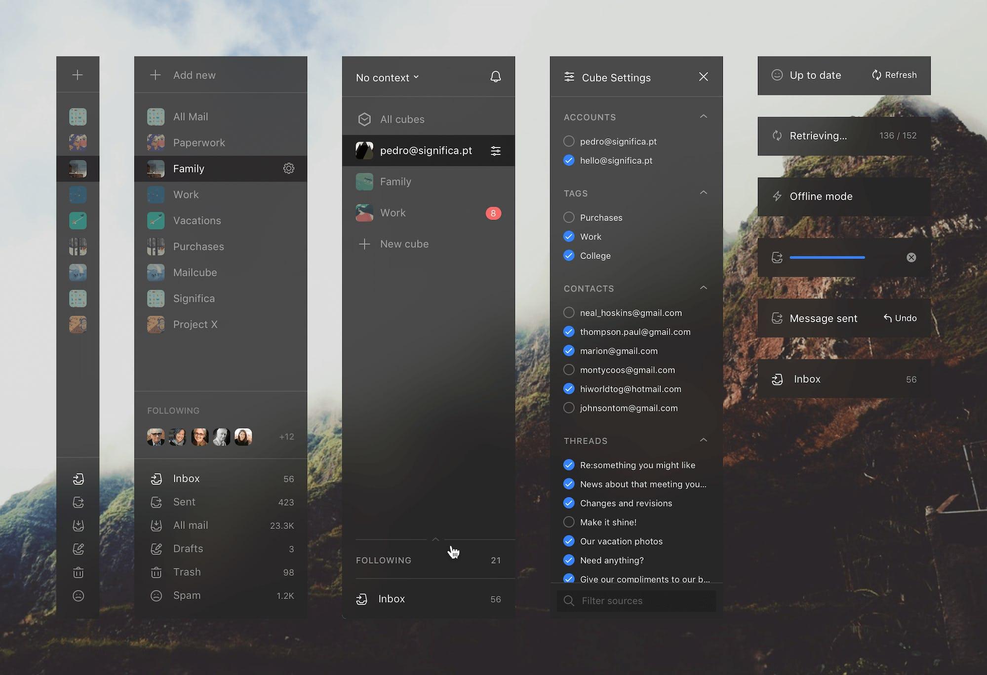 Mailcube App Sidebar