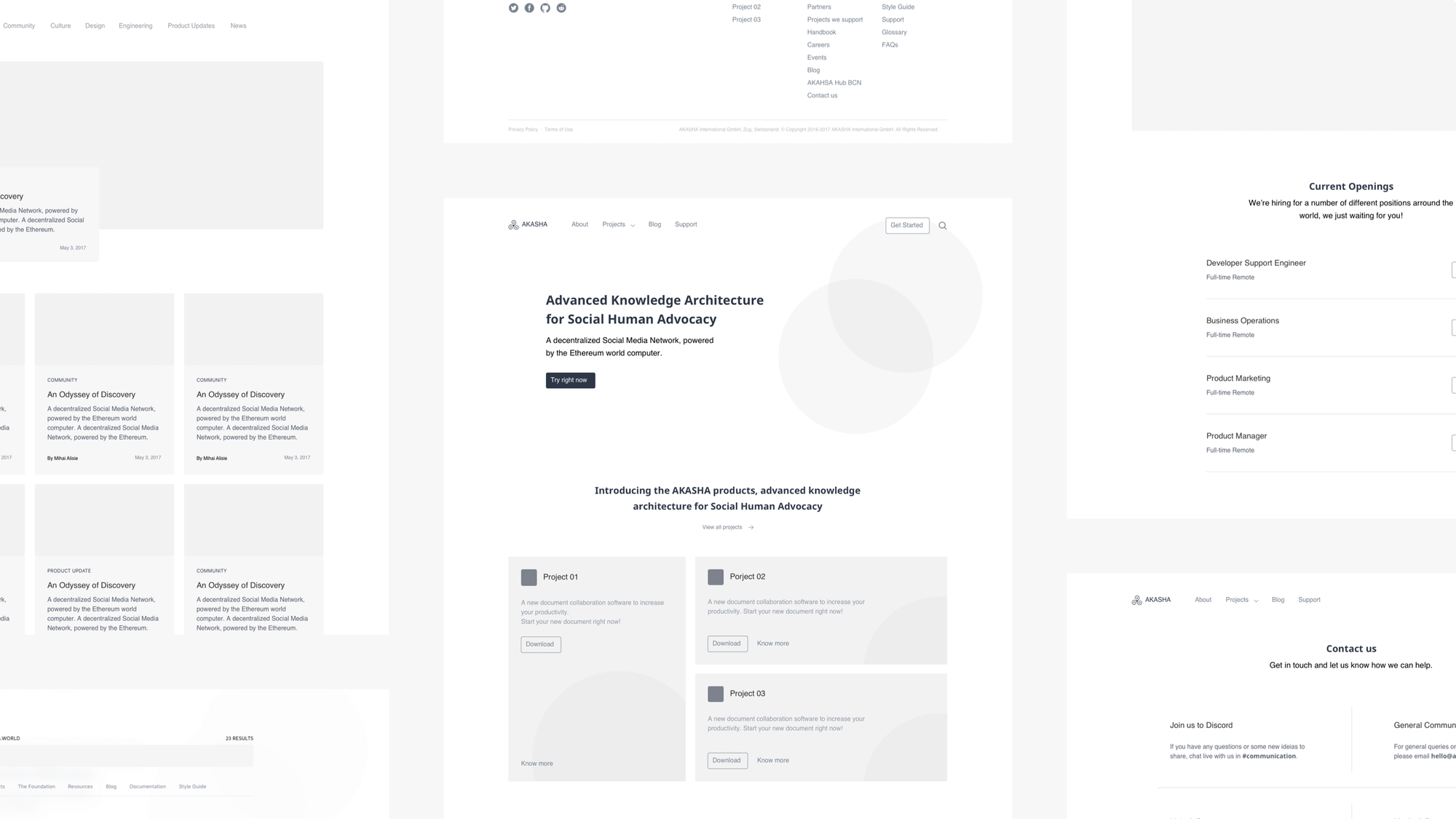 AKASHA Website WIreframes