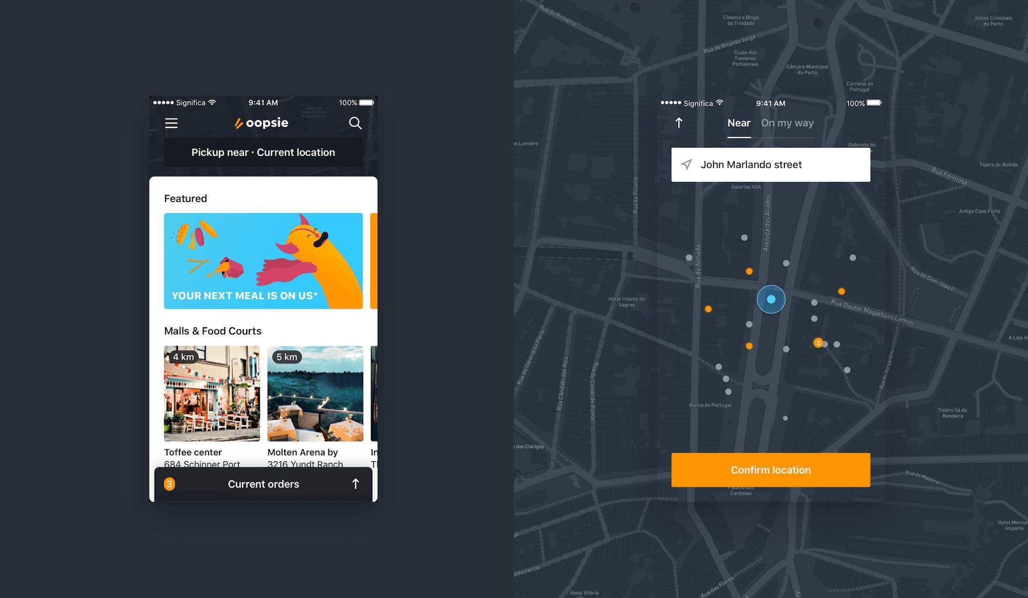 Oopsie App Home & Map