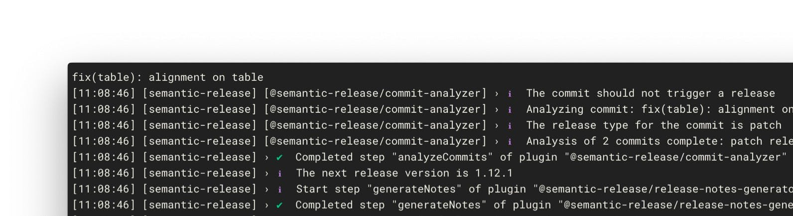 Release being executed on CI Enviromment and checking commit types.