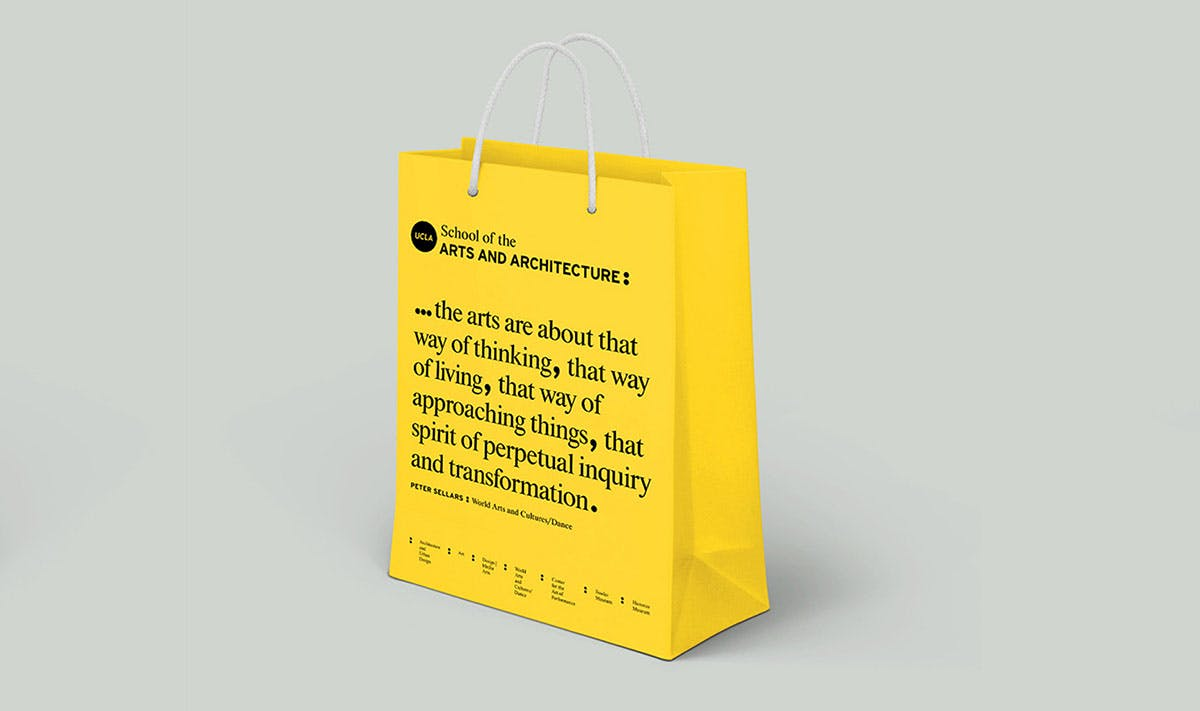 yellow bag with UCLA School of the Arts and Architecture logo and quote