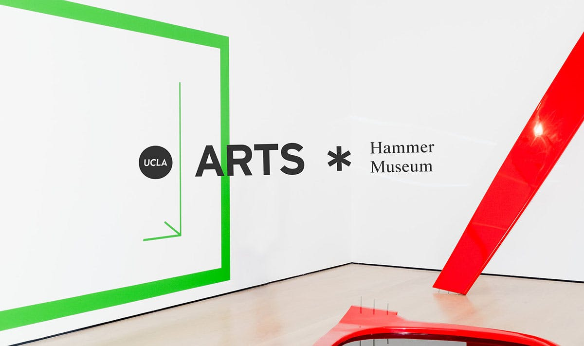UCLA Arts Hammer Museum logo on an image of an exhibition room