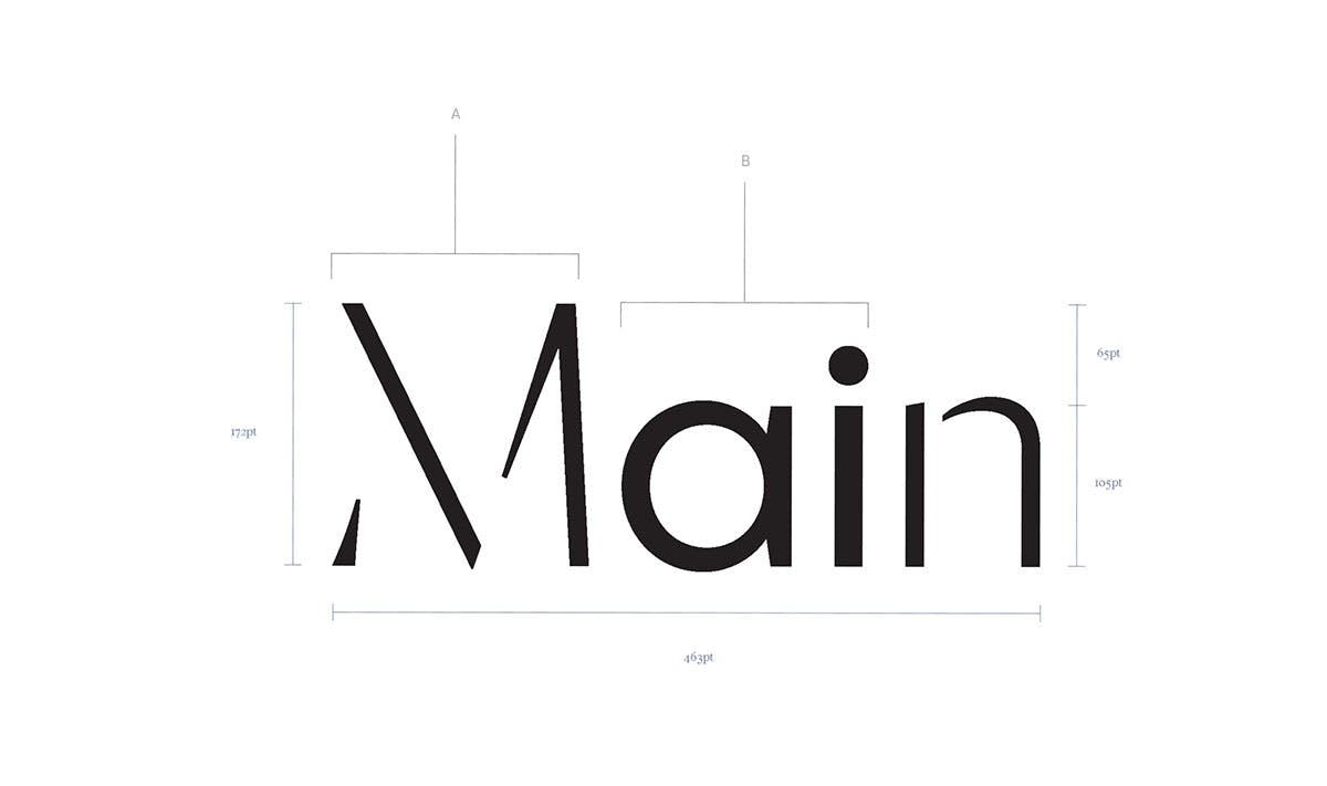"Typography breakdown of the word ""Main"""